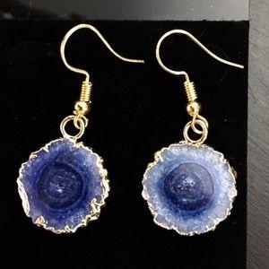 NEW Gold dipped geode slice earrings